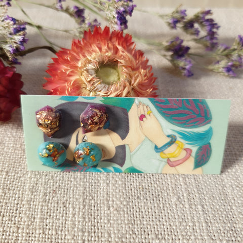 Mini Duo Stud Earrings - Burgundy and Turquoise