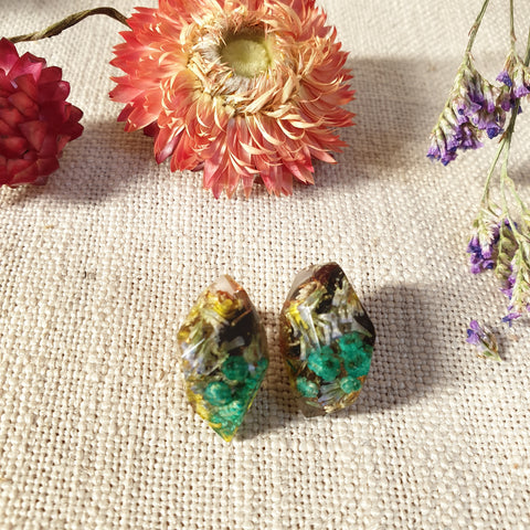 Metanical Nugget Studs - Turquoise Flowers