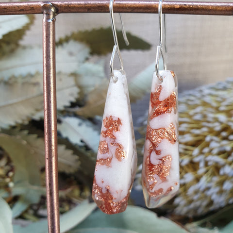 Shard Earrings - White and Copper