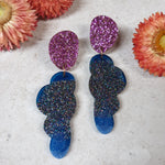 Party Mix Earrings - Clouds - Purple/Blue Glitter