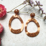Orbit Earrings - Peachy Glitter
