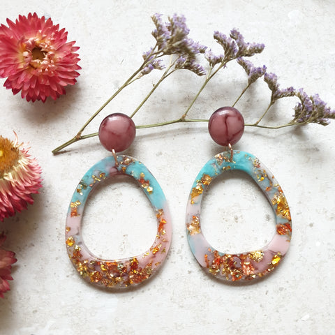 Orbit Earrings - Aqua and Dusty Pink