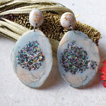 Geode Earrings - Duck Egg + Glitter