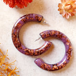 Grande Hoop Earrings - Copper Purple