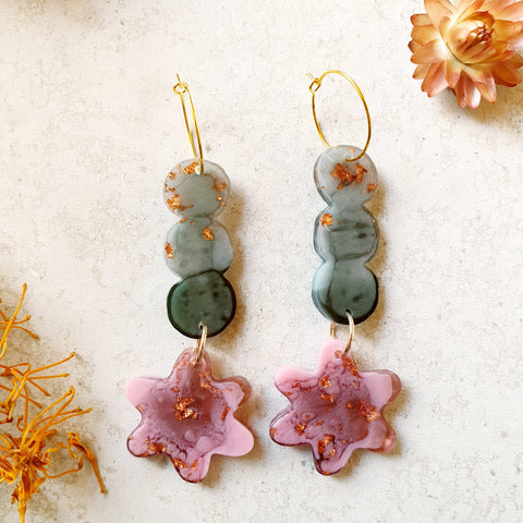 Party Mix Earrings - Mini Flower - Olive + Blush
