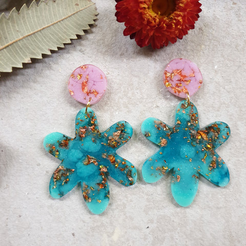 Party Mix Earrings - Daisy - Pink + Aqua