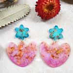 Party Mix Earrings - Tulip Flowers -  Aqua + Pink