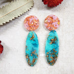 Party Mix Earrings - Oval - Pink  + Aqua