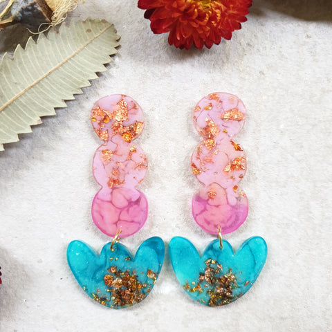 Party Mix Earrings - Tulip Drops - Pink + Aqua
