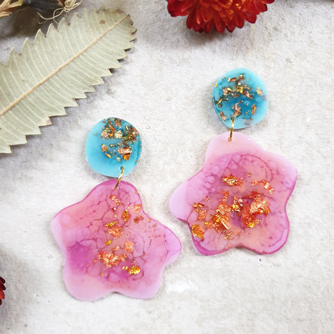 Party Mix Earrings - Ghost Flower - Aqua + Pink