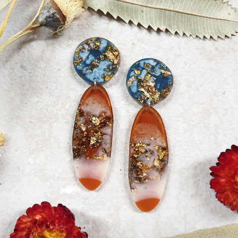Party Mix Earrings - Oval - Ocean + Ochre