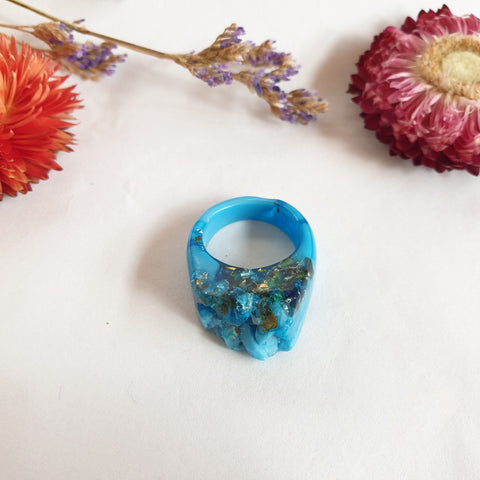 Ring Crystal -  Size US 8 Blue