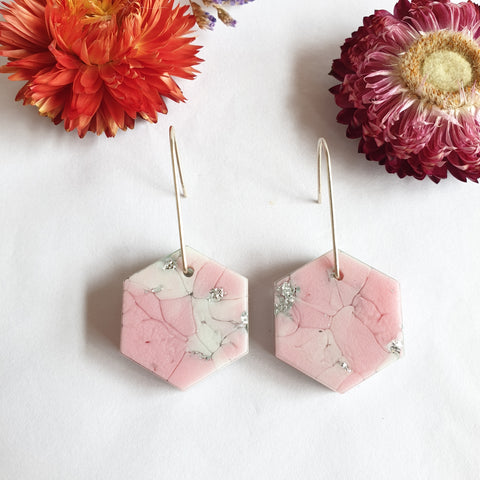 Shapes Earrings - Pink and White Hexagon