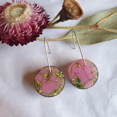 Shapes Earrings - Pink and Lime