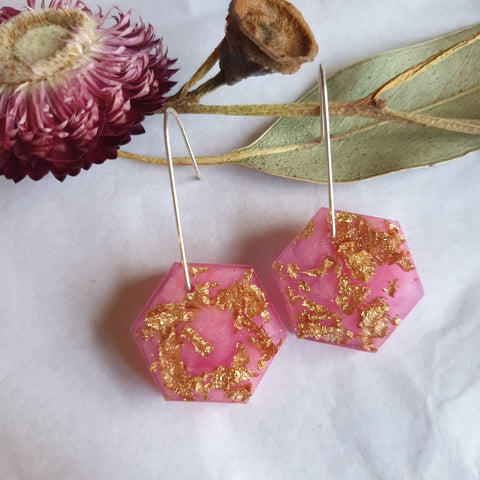 Shapes Earrings - Pink Hex