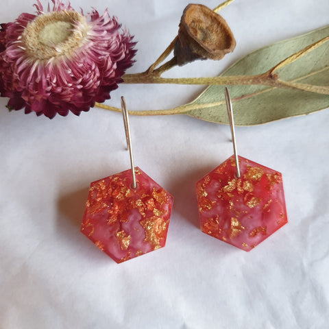 Shapes Earrings - Red Pink Hex