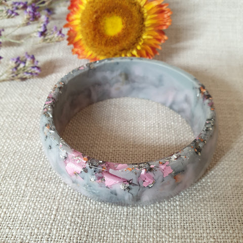 Bangle - Little Facets Grey and Pink