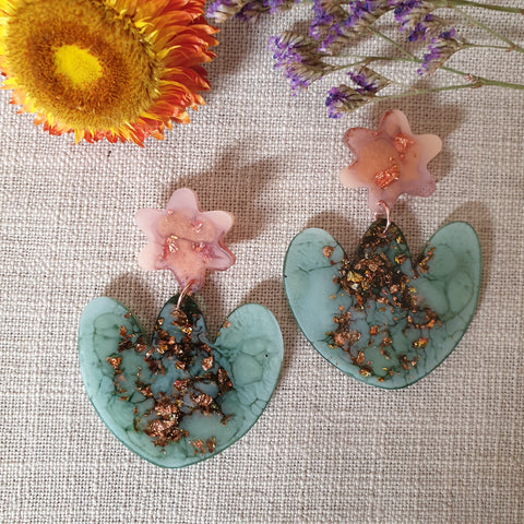 Party Mix Earrings - Tulip Flowers -  Terracotta + Eucaltypus