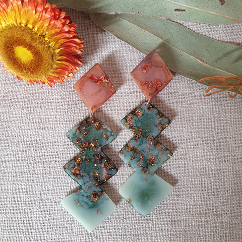 Party Mix Earrings - Lightning Kites - Terracotta + Eucaltypus