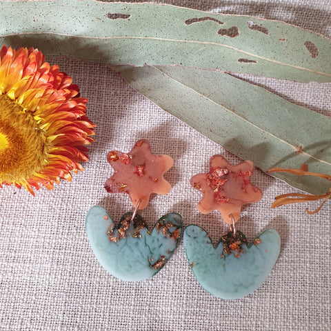 Party Mix Earrings - Mini Tulips - Terracotta + Eucaltypus
