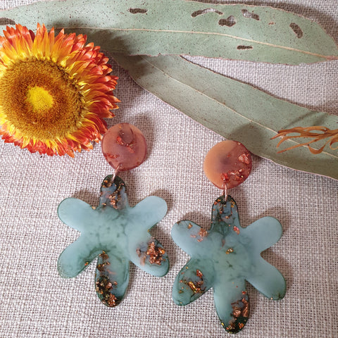 Party Mix Earrings - Daisy - Terracotta + Eucaltypus