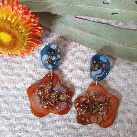 Party Mix Earrings - Ghost Flower - Ocean + Ochre