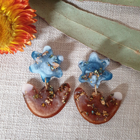 Party Mix Earrings - Mini Tulips - Ocean + Ochre