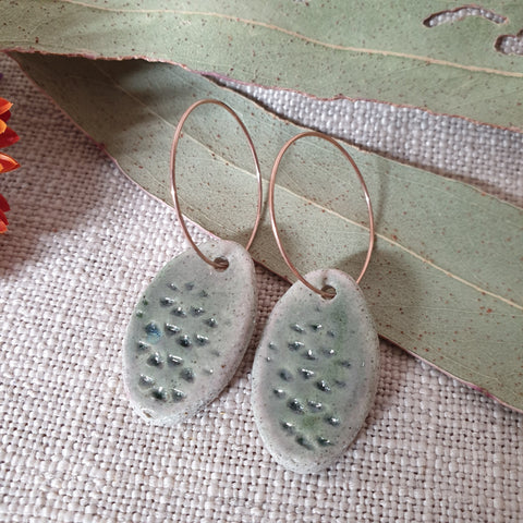 Ceramic Earrings - Oval Green