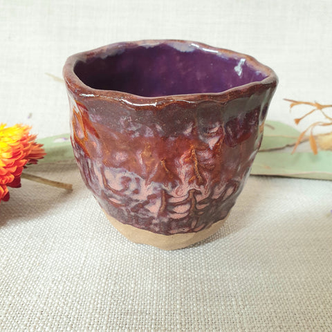 Ceramic Organic Cup Small - Purple Rust