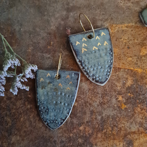 Ceramic Earrings - Shield Pewter