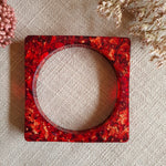 Bangle - Small Frosted Square - Red