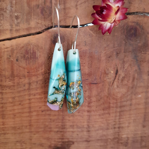 Shard Earrings - Marine Green (with pink tip)