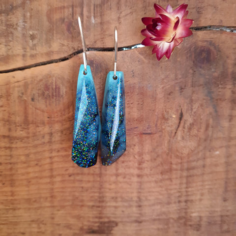 Shard Earrings - Blue Glitter