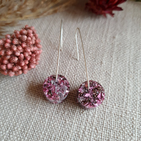 Disc Earrings - Party Pink