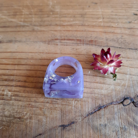 Ring - Rectangle Size US 7 Purple
