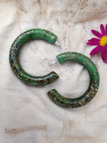 Grande Hoop Earrings - Green/Gold