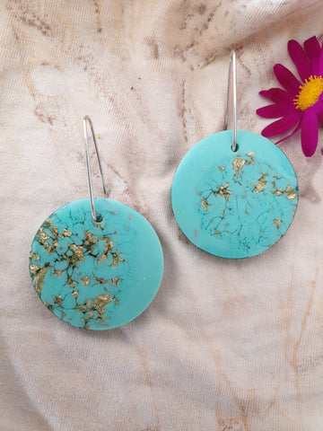 Large Shapes Earrings - Aqua/Gold