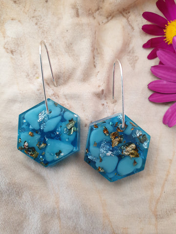 Small Shapes Earrings - Blue Hex