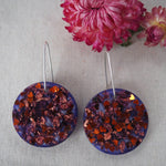 Large Shapes Earrings - Purple with Bronze Hearts