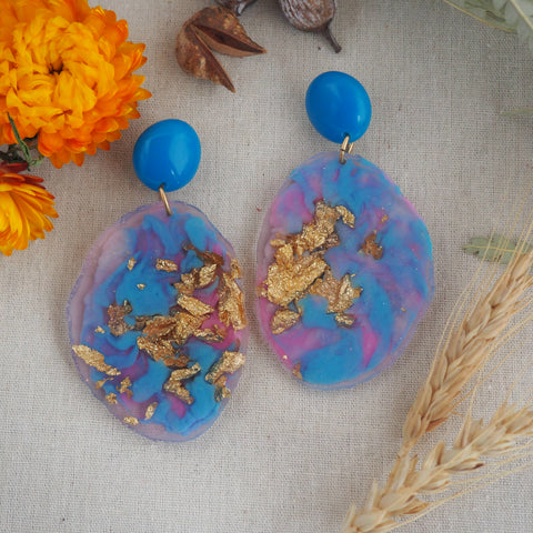 Geode Earrings - Blue and Pink