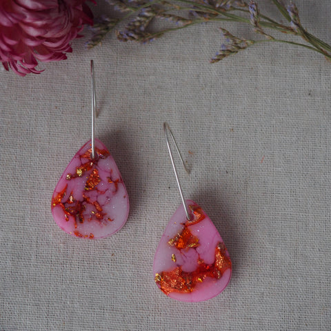 Small Shapes Earrings - Pink Teardrops