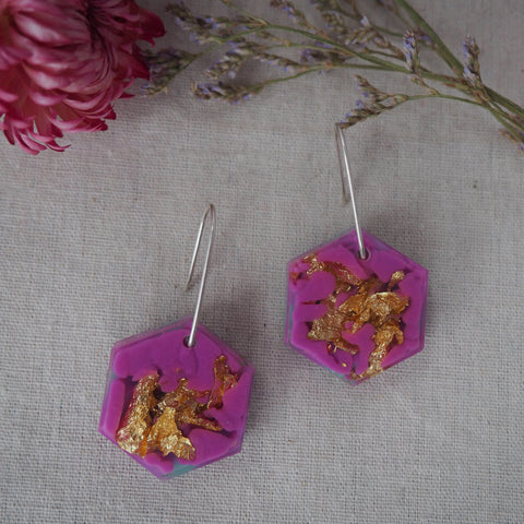 Small Shapes Earrings - Purple Hex