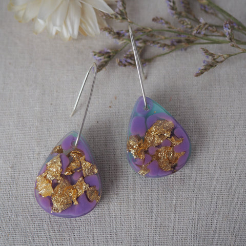 Small Shapes Earrings - Purple Teardrops