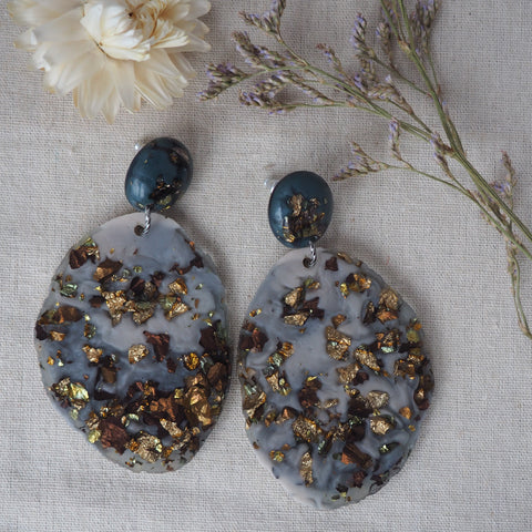 Geode Earrings - Charcoal and Bronze