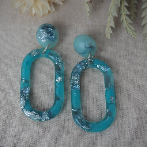 Links Earrings - Ice Aqua