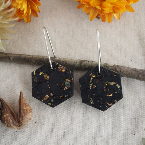 Small Shapes Earrings - Midnight Hex