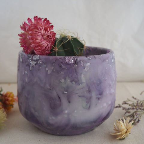 Planter - Dome - Light Purple and Silver