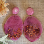 Geode Earrings - Deep Pink and Copper