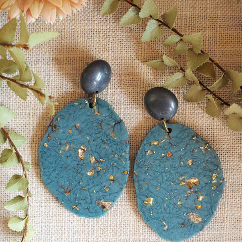 Geode Earrings - Denim