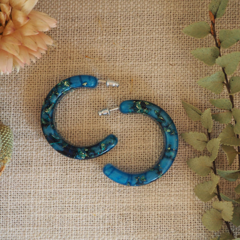 Hoop Earrings - Blue